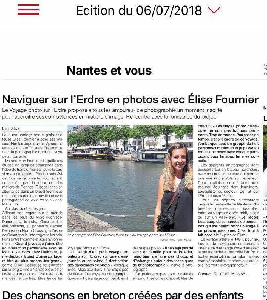 , Juin 208 – Article dans le Ouest-France, on parle du Voyage photo !